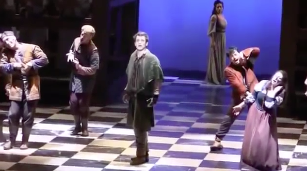 Michael Arden as Quasimodo & Ciara Renée as Esmeralda during the finale, La Jolla Hunchack of Notre Dame picture image