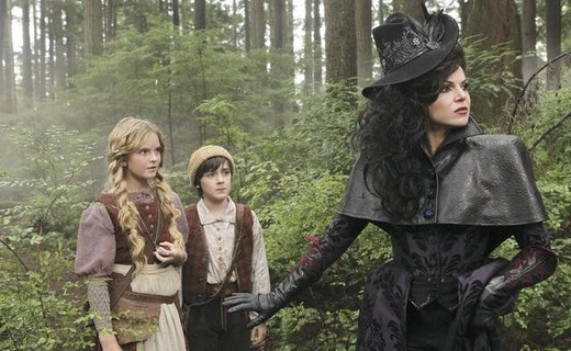 Lana Parrilla as Evil Queen, Karley Scott Collins as Gretel & Quinn Lord as Hansel ABC's Once Upon a Time, True North picture image