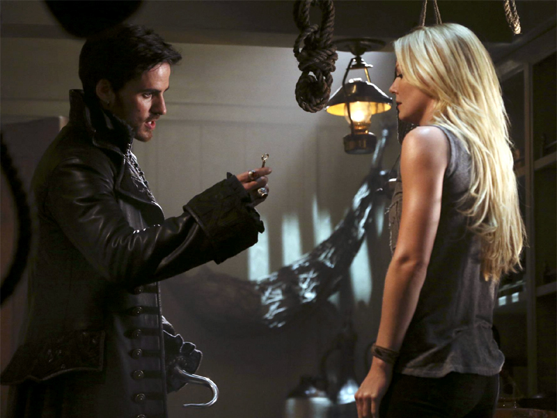 Colin O'Donoghue as Captain Hook & Jennifer Morrison as Emma Swan ABCs Once Upon a Time Season 3 Episode 01, The Heart of the Truest Believer Picture image