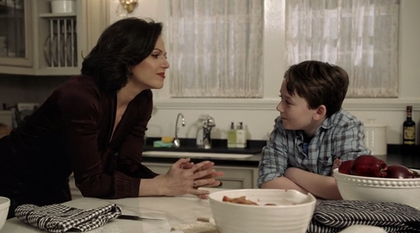 Lana Parrilla as Regina & Benjamin Stockham as Young Owen Season 2 Episode17, Welcome to Storybrooke, ABC Once Upon a Time picture image