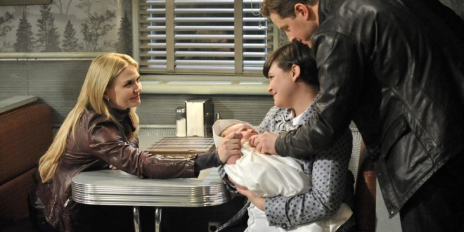 Jennifer Morrison as Emma Swan, Ginnifer Goodwin as Snow White, Josh Dallas as David with Baby Neal ABC's Once Upon a Time There's no Place Like Home picture image