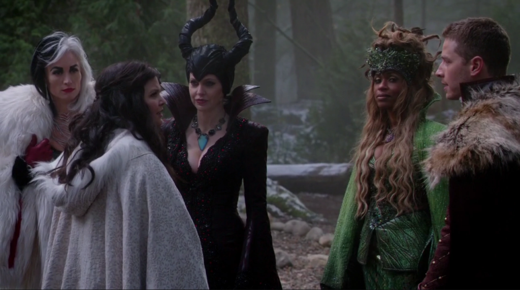 Kristin Bauer van Straten as Maleficent, Victoria Smurfit as Cruella De Vil, Merrin Dungey as Ursula, Ginnifer Goodwin as Snow White and Josh Dallas as David Once Upon A Time Season 04 Episode 14 Unforgiven picture image