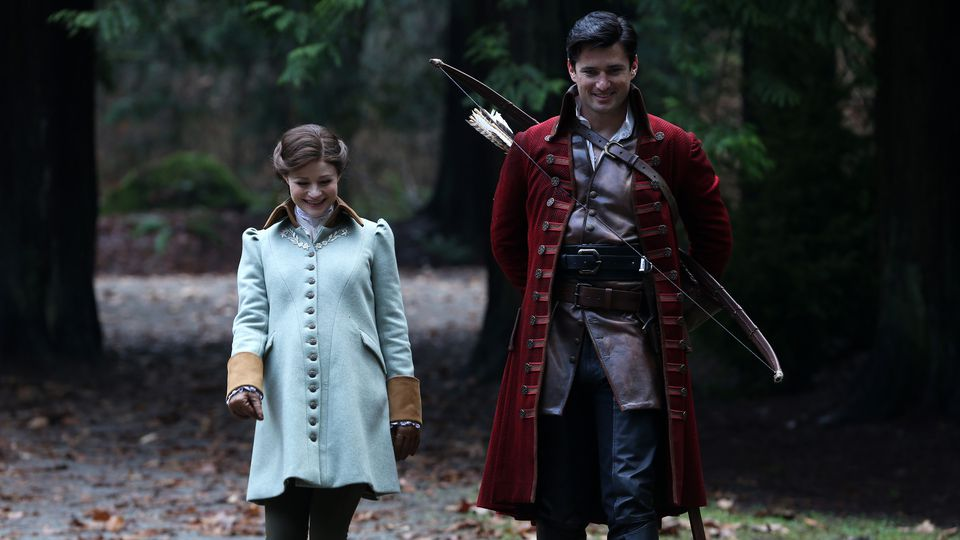 Emilie de Ravin as Belle & Wes Brown as Gaston Once Upon a Time Season 5 Episode 17 Her Handsome Hero review picture image