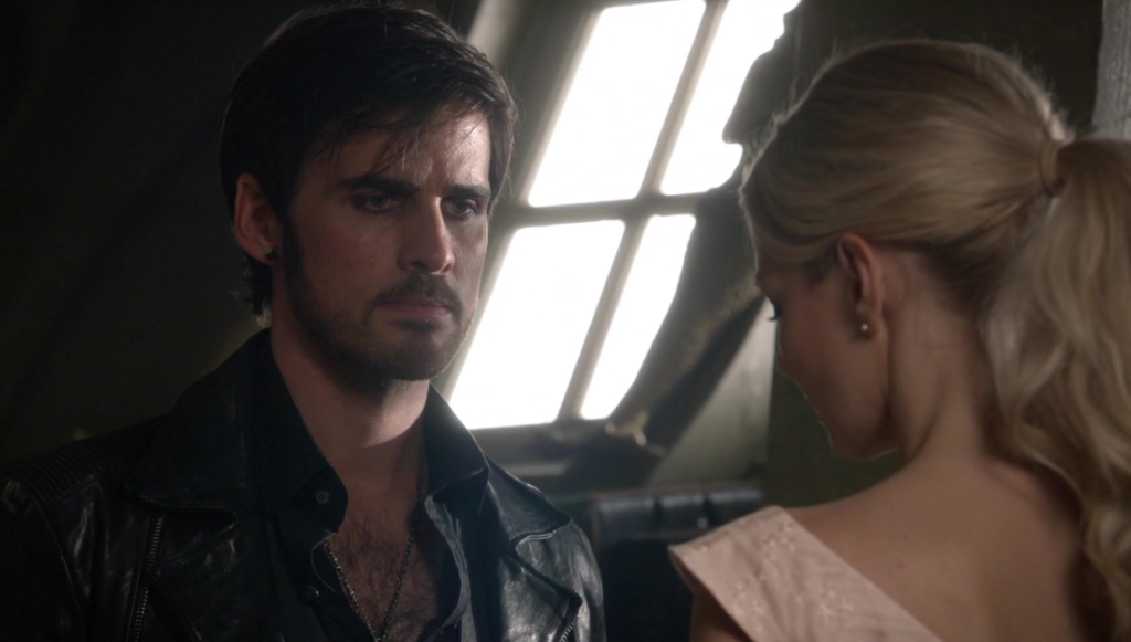 Colin O'Donoghue as Captain Hook & Jennifer Morrison as Emma Swan Once Upon a Time Season 5 Episode 3 Siege Perilous review picture image