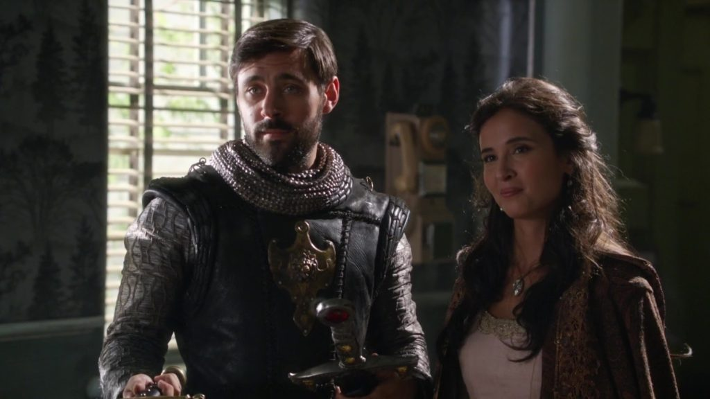 Liam Garrigan as King Arthur & Joana Metrass as Guinevere Once Upon a Time Season 5 Episode 4 The Broken Kingdom review picture image