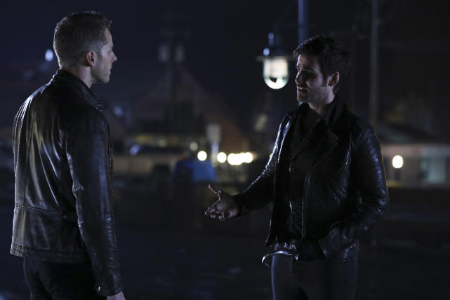 Colin O'Donoghue as Hook & Josh Dallas as David Once Upon a Time Season 6 Episode 12 Murder Most Foul picture image
