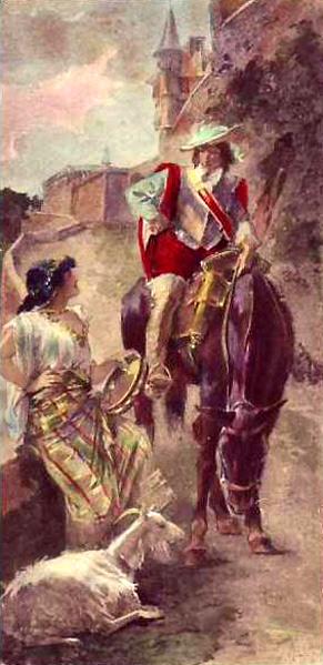 watercolor of Phoebus and Esmeralda picture image