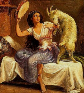 Painting of Esmeralda and Djali by Wilhelm Marstrand