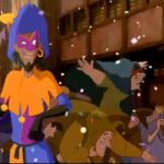 Clopin noticing Quasimodo during the Feast of Fools Disney Hunchback of Notre Dame picture image