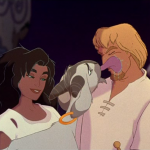 Djali licking Phoebus with Esmeralda Hunchback of Notre Dame Disney picture image
