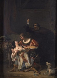 Auguste Couder's Painting of Frollo stabbing Phoebus picture image