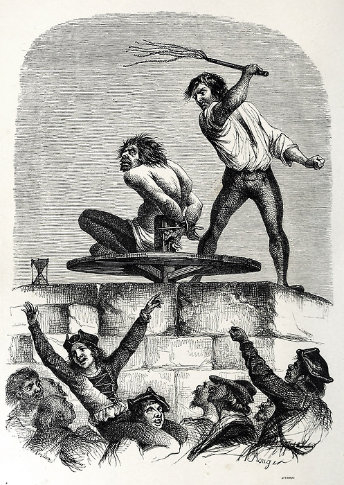 Quasimodo at the Pillory. Illustration by L.H. de Rudder 1844 picture image