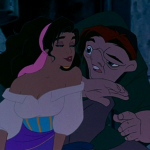 Esmeralda getting close to Quasimodo Disney Hunchback of Notre Dame