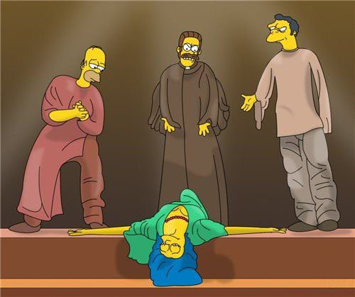 Simpsons Notre Dame de Paris Fanart Homer Quasimodo Frollo Flanders Moe Phoebus Marge Esmeralda picture image
