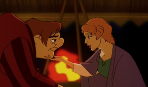 Madeline and Quasimodo by the fire Hunchback of Notre Dame II Disney sequel picture image