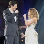 Patrick Fiori and Julie Zenatti performing Notre Dame de Paris in Bercy picture image