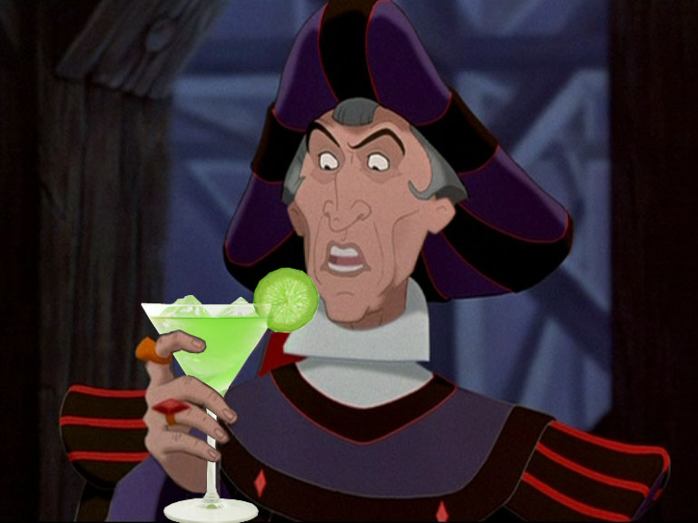 Frollo drinks a green martini cocktail Disney Hunchback of Notre Dame