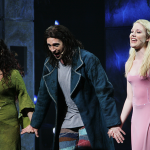Cadice Parise as Esmeralda, Dennis Ten Vergert as Gringoire and Lilly-Jane Young as Fleur de Lys Asian Tour Cast Notre Dame de Paris 2012 picture image