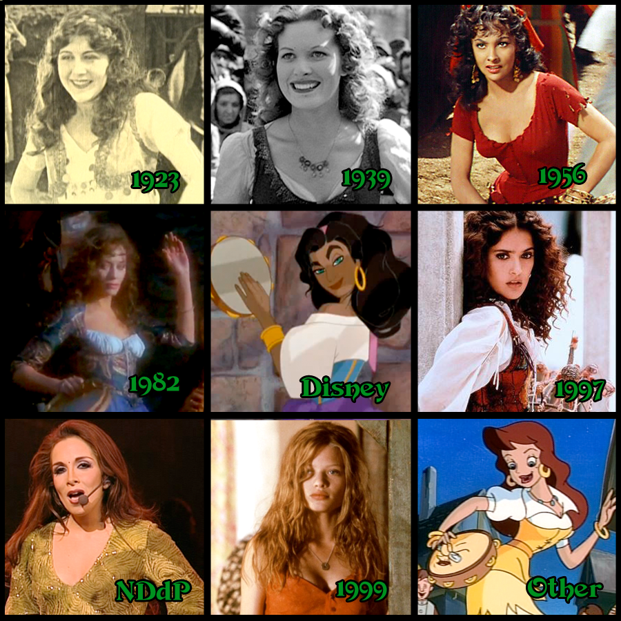 Esmeraldas of Hunchback of Notre Dame Miller, O'Hara, Lollobrigida, Down, Disney, Hayek, Segara, Thierry, Enchanted Tales