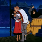 Esmeralda & Phoebus Kiss while Frollo attacks Jetlag version Hunchback of Notre Dame picture image