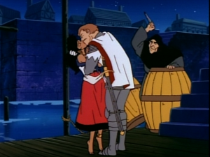 Frollo attack while Esmeralda and Phoebus embrace, Jetlag version of The Hunchback of Notre Dame picture image