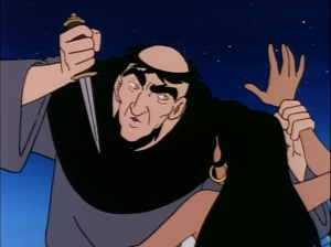 Frollo threatening Esmeralda, Jetlag Hunchback of Notre Dame picture image