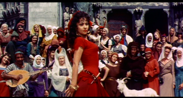 Esmeralda (Gina Lollobrigida) dances, 1956 Hunchback of Notre Dame picture image