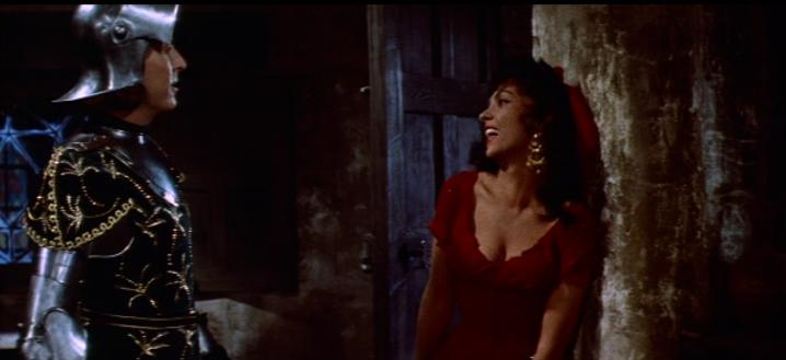 Esmeralda (Gina Lollobrigida) with Phoebus (Jean Danet), 1956 Hunchback of Notre Dame picture image