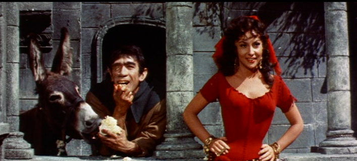 Esmeralda (Gina Lollobrigida) and Quasimodo (Anthony Quinn), 1956 Hunchback of Notre Dame picture