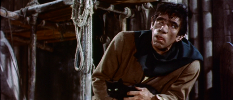 Quasimodo (Anthony Quinn) with a cat, 1956 The Hunchback of Notre Dame picture image