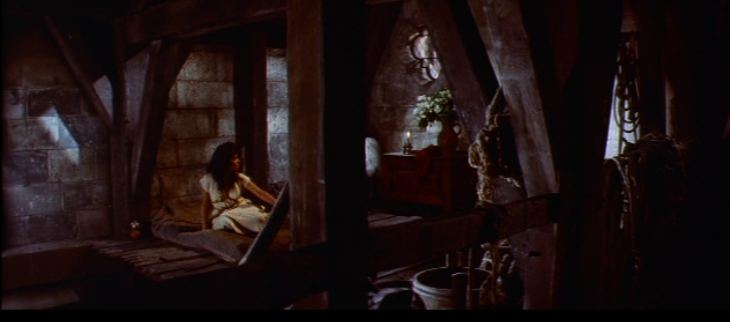 Long Shot of Esmeralda wearing a second white chemise, 1956  The Hunchback of Notre Dame  picture image