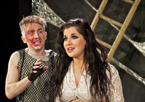 Steven Webb (Quaimodo) and Zoë George (Esmeralda) in Lionel Bart's Quasimodo! picture image
