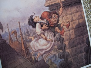 Concept art of Quasimodo saving Esmeralda  from the Art of the Hunchback , picture image