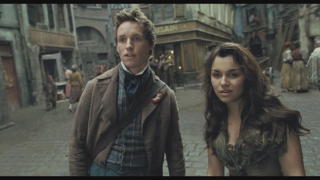 Samatha Barks as Epoine & Eddie Redmayne as Marius Les Miserables 2012, picture image