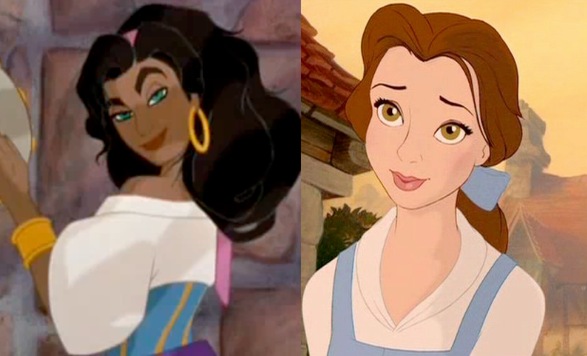 A Side-by-Side Comaparsion of teh styles of Hunchback of Notre Dame and Beauty and the Beast  picture image Belle Esmeralda