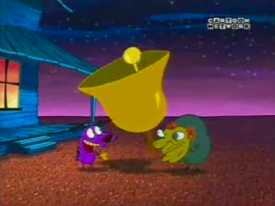 Quasimodo and Courage playing bells, Courage the Cowardly Dog, The Hunchback of Nowhere picture image
