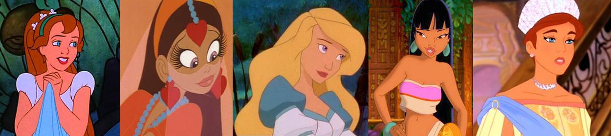 Non-Disney Heroines; Thumblina, Yum-Yum,Odette, Chel, & Anastasia Picture image
