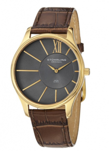 Stuhrling Original Men's  Classic Cuvette SD 23k Yellow Gold-Plated Stainless Steel and Brown Leather Strap Watch Gringoire picture image