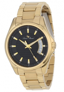 Lucien Piccard Men's Excalibur Black Textured Dial Gold Ion-Plated Stainless Steel Watch, Esmeralda men, picture image