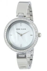 Anne Klein Women's  Swarovski Crystal Elements Silver-Tone Bangle Watch Fleur de lys picture image