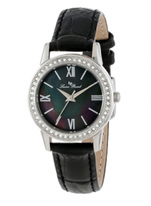 Lucien Piccard Women's  Veleta Black Mother-Of-Pearl Dial Swarovski Crystal Accents Black Leather Strap Watch, Frollo, women picture image