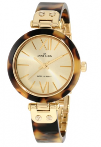 Anne Klein Women's  Gold-Tone Tortoise Shell Plastic Bracelet, Quasimodo women watch