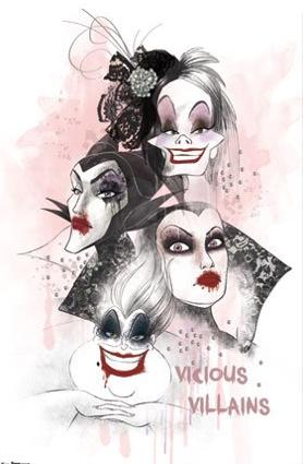 Vicious Villains - Disney Movie Art Poster picture image