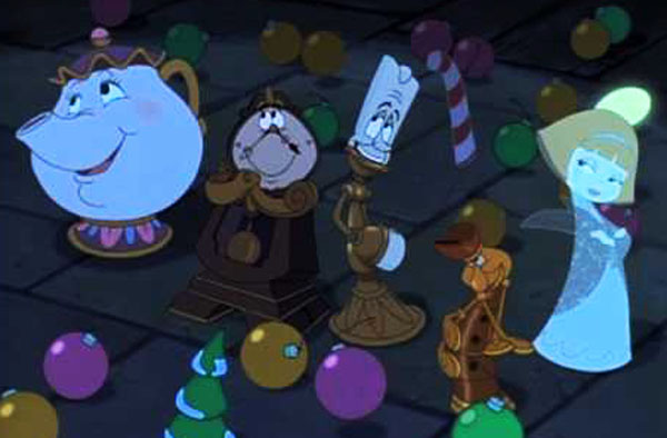 Msr.Potts, Cogsworth, Lumiere, and Angelique,  Beauty and the Beast; The Enchanted Christmas picture iamge