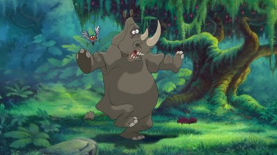 A Rhino and a Bird Tarzan II picture image