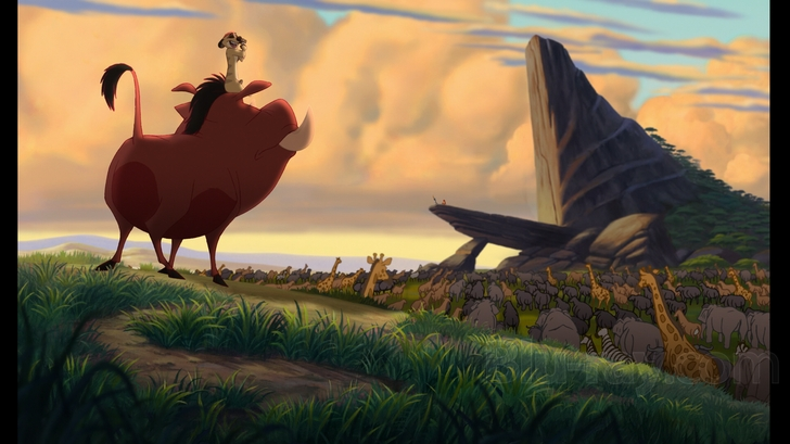 Timon and Pumbaa stare at Pride Rock The Lion King 1 1/2  picture image