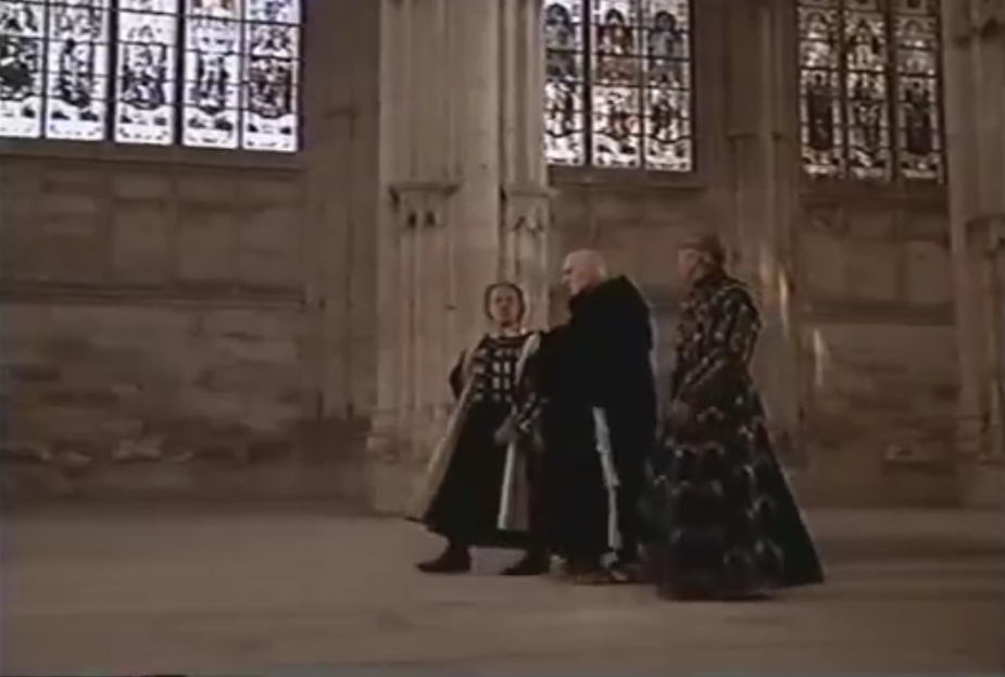 "Frollo inside ""Notre Dame"" with King and Minister, 1997 Hunchback picture image"