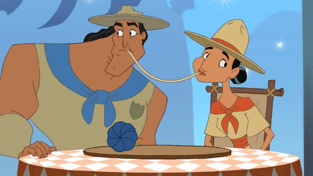 Kronk and Miss Birdwell do the spaghetti scene from lady and the tramp  Kronk's New Groove picture image