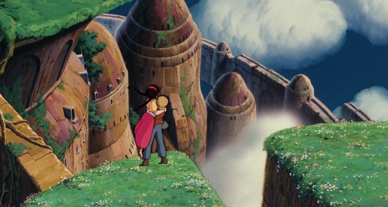 Pazu and Sheeta seeing Laputa Castle in the Sky picture image