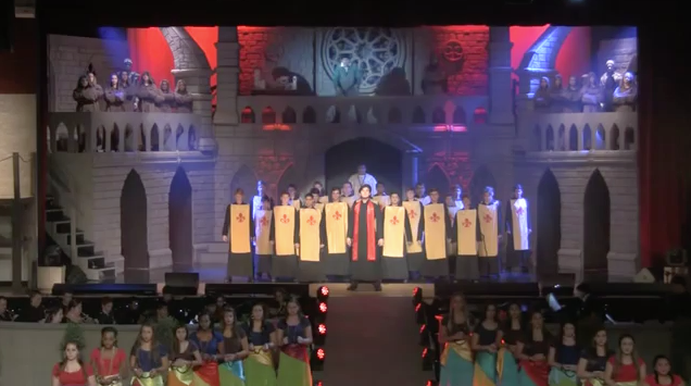 Frollo, Quasimodo and Ensemble performing Esmeralda King's  Academy Hunchback of Notre Dame   picture image